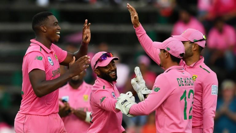 Lungi Ngidi (left) celebrates a wicket in the Johannesburg ODI against England