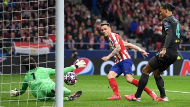 Saul Niguez scores for Atletico Madrid against Liverpool