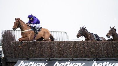 Mister Malarky (Jonjo o'Neill jr) jumps the last fence and win the 3m handicap chaseKempton 22.2.20 Pic: Edward Whitaker