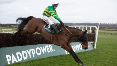 Any Second Now (Mark Walsh) jumps the last when winning the Grade 3 WhatOddsPaddy? ChaseNaas.Photo: Patrick McCann/Racing Post 23.02.2020