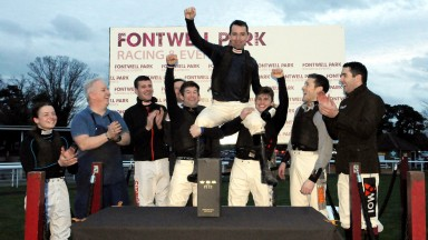 Leighton Aspell with his fellow jockeys after his last ride before retirement on Itsnotwhatyouthink at Fontwell. 23/2/2020 Pic Steve Davies