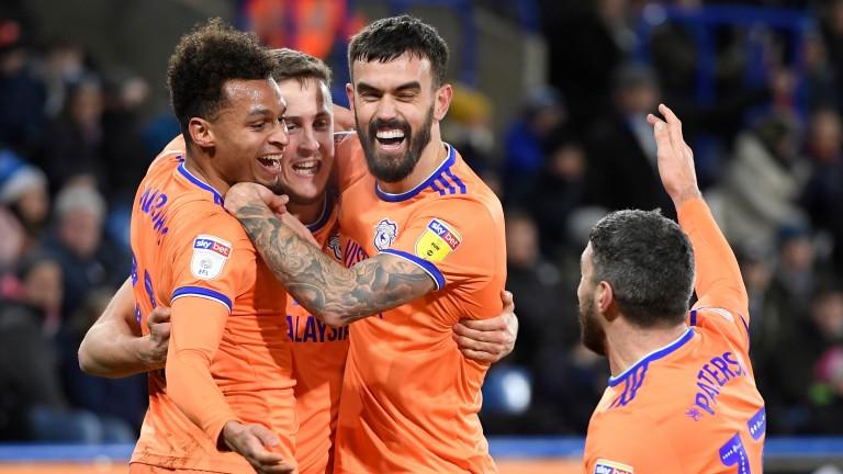 Will Vaulks of Cardiff City celebrates with teammates