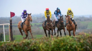 Mark O'Hare (second left) partners Ringneill to victory in the mares' maiden at Farmaclaffley