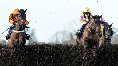 Alan Johns riding Admiral's Secret (right) clear the last to win The Buy Your Building Materials From CRS Handicap Chase at Wincanton (Photo by Alan Crowhurst/Getty