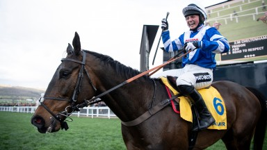 Number one: Bryony Frost salutes Frodon after completing the first part of the Golden Hour