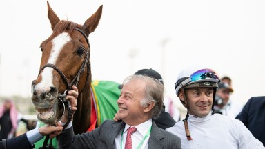 Call The Wind with Freddie Head and Olivier Peslier after the 3000m Turf Handicap winKing Abdulaziz racetrack, Riyadh 29.2.20 Pic: Edward Whitaker