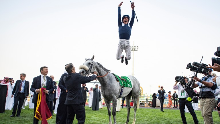 Dark Power (Frankie Dettori) wins the Turf Sprint King Abdulaziz racetrack, Riyadh 29.2.20 Pic: Edward Whitaker