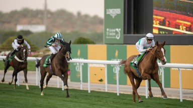 Call The Wind  and Olivier Peslier beat Mekong (Jamie Spencer) in the 3000m Turf Handicap King Abdulaziz racetrack, Riyadh 29.2.20 Pic: Edward Whitaker