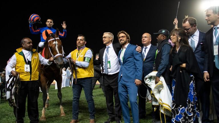 Maximum Security (Luis Saez) after winning the Saudi Cup
