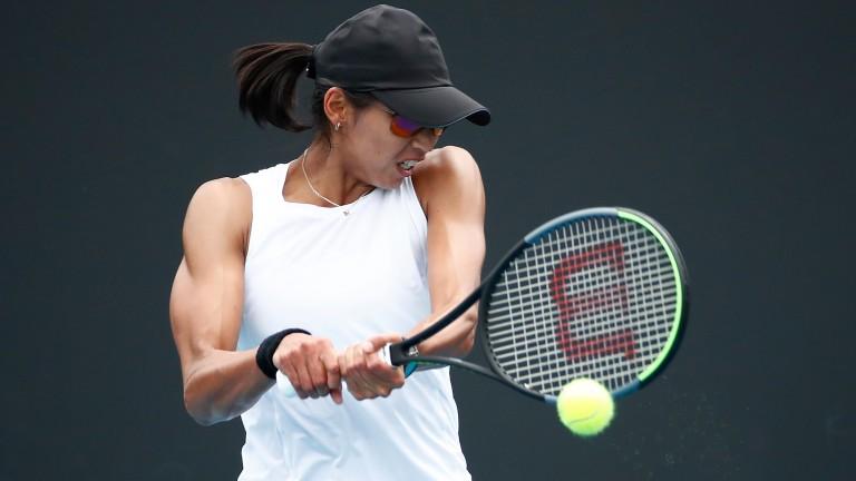 Astra Sharma plays a backhand  in January's Australian Open