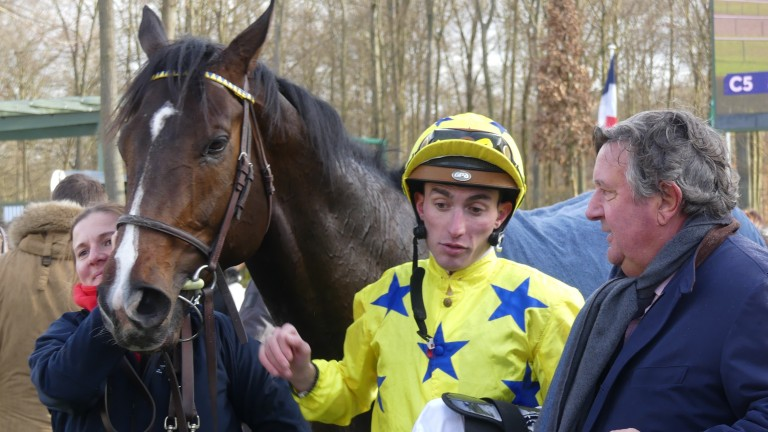 Pierre-Charles Boudot debriefs Alex Pantall after We Go lands the Prix Anabaa at Chantilly