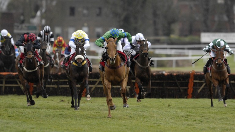 Sandown 8.3.08 Picture:Edward WhitakerTony McCoy (2nd right)back in action when finishing 5th in the NH Novice handicap hurdle aboard Rapid Increase.The winner was Beshabar
