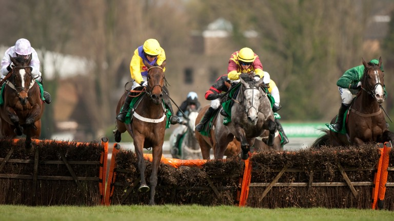 Skint (Barry Geraghty,2nd left) jumps the final hurdle and wins the Nh novices hurdle from Mic's Delight(left)Sandown 12.3.11 Pic:Edward Whitaker