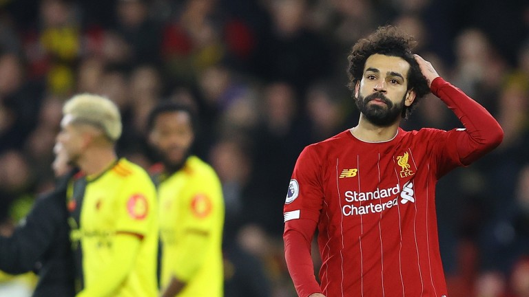 Liverpool's Mohamed Salah looks dejected following the Premier League defeat to Watford