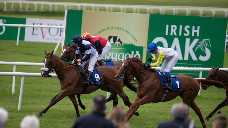 Moonmeister (navy cap) finished first past the post in the Kildare Village Ladies Derby Handicap but runner-up Perfect Tapatino (royal blue cap) has now been awarded the race