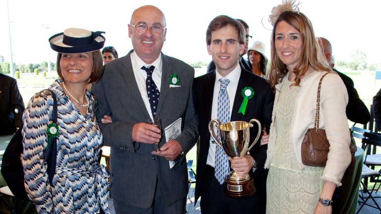 Massimo Parri (second left) with wife Letizia, and their son Giovanni and his now-wife Francesca, pictured after the 2013 Derby Italiano won by Biz The Nurse
