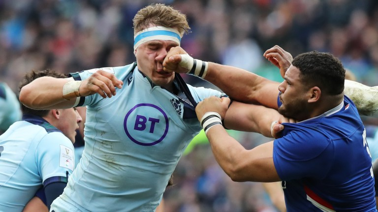 Mohammed Haouas of France was sent off for punching Scotland's Jamie Ritchie