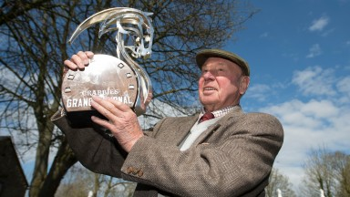 The holy grail: Trevor Hemmings with the trophy for the 2015 Grand National
