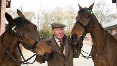 Trevor Hemmings between his National winners Ballabriggs (left) and Hedgehunter at Gleadhill House Stud