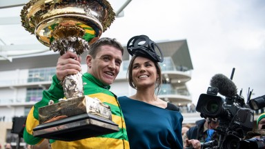 Barry and Paula Geraghty with the Champion HurdleCheltenham 10.3.20 Pic: Edward Whitaker
