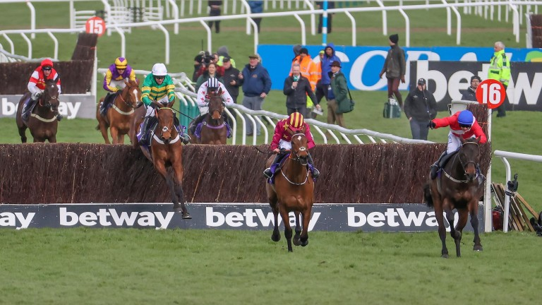 Champ (left) takes the last before running down Minella Indo and Allaho (right) in the RSA