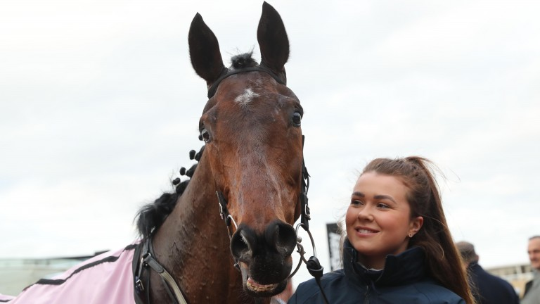 Aramax, pictured with groom Helen Peppard, after striking in the Boodles Juvenile Hurdle