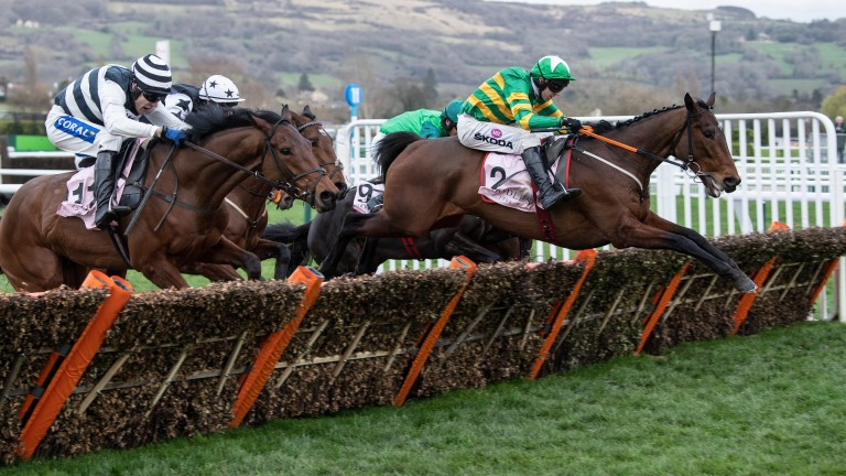 Aramax (right) gets the better of Night Edition in a thrilling finish to the Boodles Juvenile Hurdle
