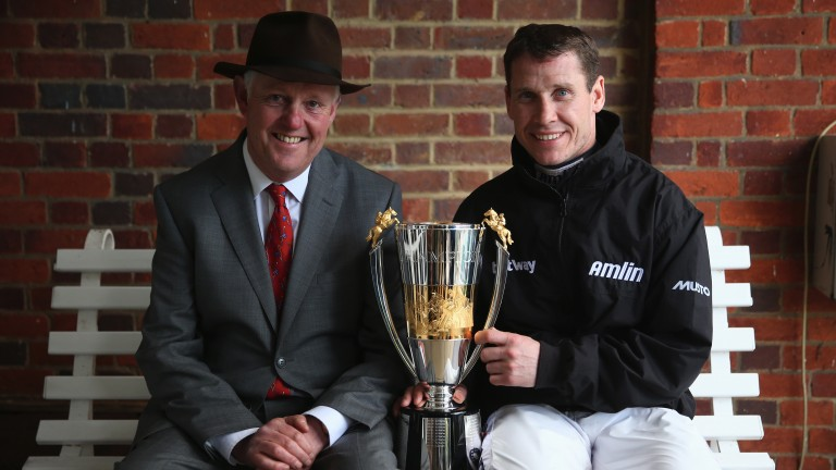Philip Hobbs and Richard Johnson, pictured together at Sandown on the day in April 2016 when the trainer's retained rider became champion for the first time