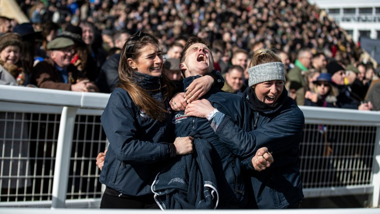 Celebration time: Katie Young, Jack Madden and Camilla Sharples celebrates Samcro's win in the Marsh Chase at Cheltenham