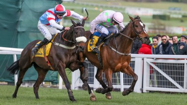 MIN Ridden by Paul Townend (Right Pink) wins at Cheltenham 12/3/20 Photograph by Grossick Racing Photography 0771 046 1723