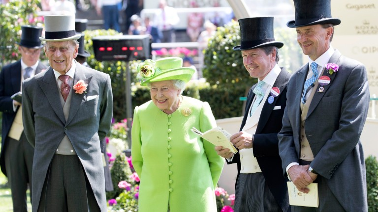 Prince Philip and the Queen in 2017 with John Warren (second right), the Queen's racing adviser, and Johnny Weatherby (right), Her Majesty's representative at Ascot