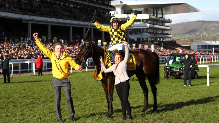Paul Townend celebrates aboard Al Boum Photo after winning the Gold Cup