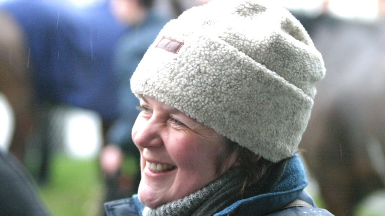 ALEC RUSSELL PICTURE  Catterick  15/1/2003 A delighted Kate Milligan after Karyon won the selling hurdle ar 33-1 Mirrorpix