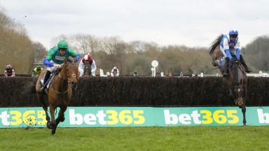 Truckers Lodge (left) kicks on after jumping the last to win the Midlands National