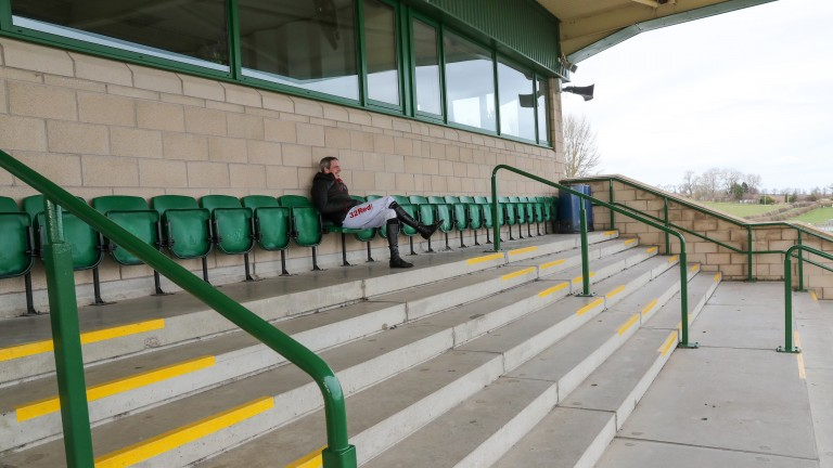 Jockey Alain Cawley in an empty stand at Kelso on Monday
