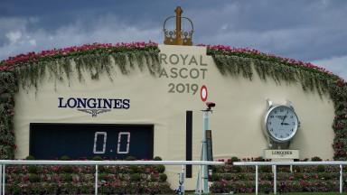The winning post and Longines clock at Royal Ascot