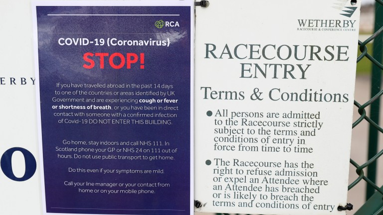 Racing in Britain took place behind closed doors on Tuesday but has now stopped