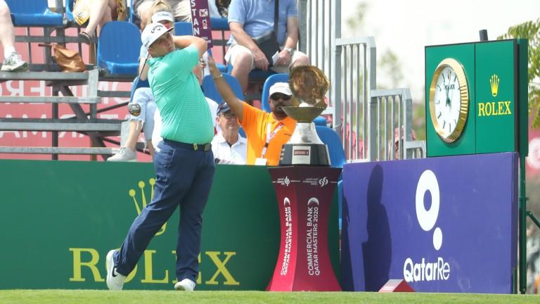 Marcus Armitage tees off at the Qatar Masters