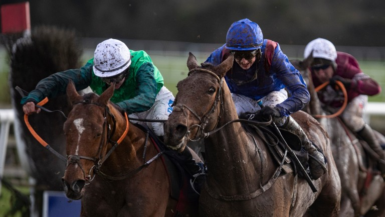 Ifyoucatchmenow (blue): produced a brave display to win the BoyleSports Grand National Trial Handicap Chase last time