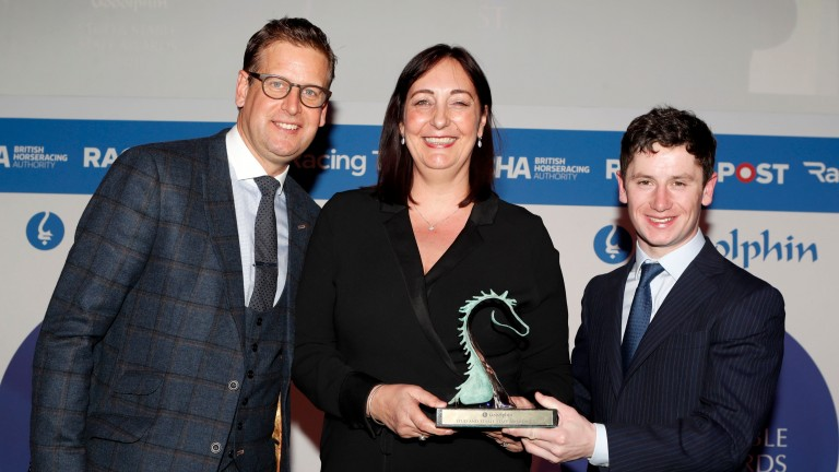 Simone Sear was presented with the Rory MacDonald Award by Ed Chamberlin and Oisin Murphy in February