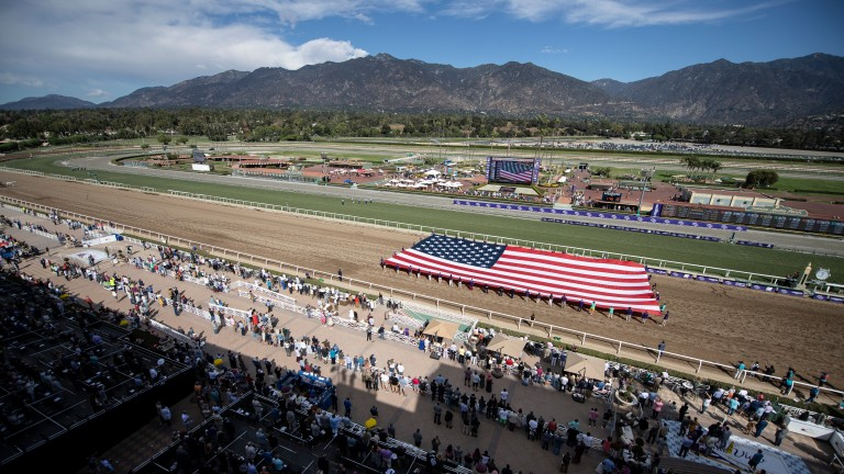 The opening ceremony of the Breeders' Cup at Santa Anita in 2019