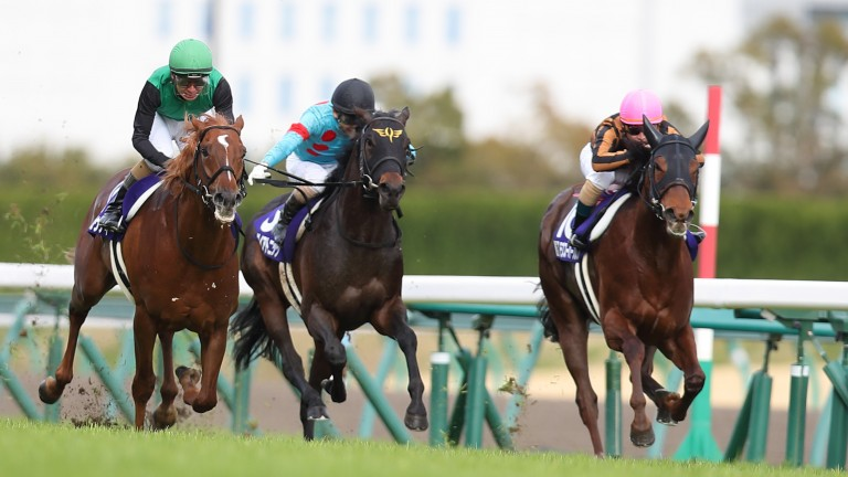 Mozu Superflare (right) was promoted to first in the Takamatsunomiya Kinen