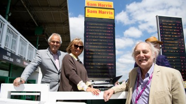David Ashforth with bookies Adrian Pariser and Lynda Hatfield who layed Hedging in the opening raceBrighton 2.7.19 Pic: Edward Whitaker