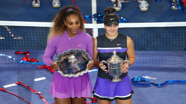 Serena Williams and Bianca Andreescu (right) lead the market for the women's US Open