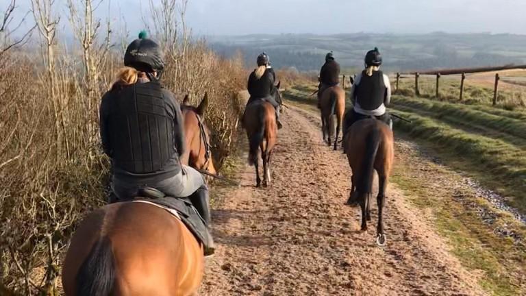 Work-riders keep their distance at Nigel Hawke's yard in Devon