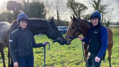 Lockdown Stable staff picture. Katie Young & Keith Donoghue