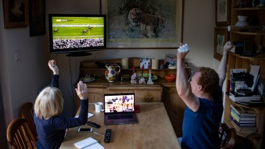 Punters watch Potters Corner win the Virtual Grand National 2020