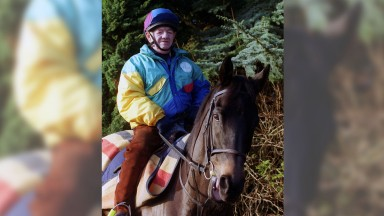 Brian Connorton December 2000 former jockey with Leviticus Racehorse in Kilnwick