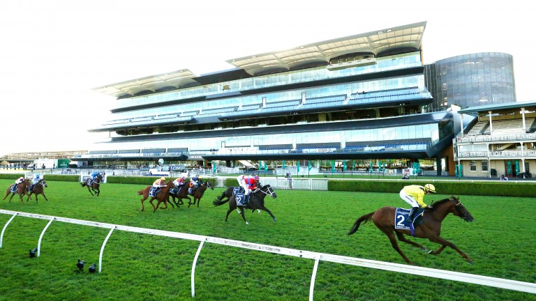 Addeybb streaks clear under Tom Marquand to land the Longines Queen Elizabeth Stakes