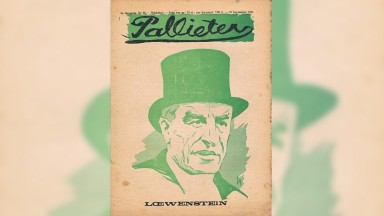Alfred Loewenstein; front page of the Flemish magazine Pallieter (19 Sept. 1926). All front pages were designed and illustrated by Jos De Swerts (1890-1939). (From Wikipedia)